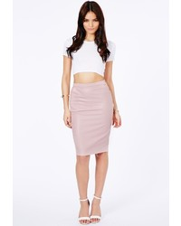 Missguided Mariota Faux Leather Pencil Skirt In Dusky Pink