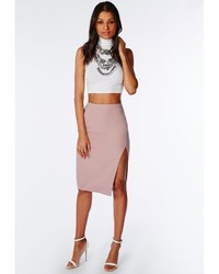Missguided Thigh High Split Scuba Midi Skirt Mauve | Where to buy ...