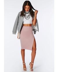 Missguided Thigh High Split Scuba Midi Skirt Mauve