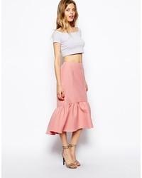 Asos Peplum Hem Pencil Skirt In Texture Pink