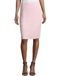 St. John Spring Tweed Pencil Skirt Pink