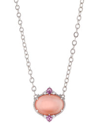 Judith Ripka Allure Oval Pink Mother Of Pearl Doublet Pendant Necklace