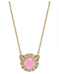 Kate Spade New York Gold Tone Candy Pink Stone And Clear Crystal Mini Pendant Necklace