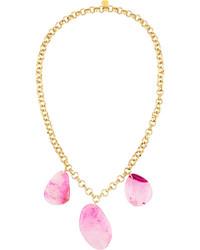 Devon Leigh Long Triple Agate Pendant Necklace Pink