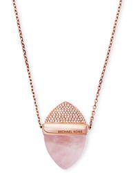 Michael Kors Michl Kors Rose Gold Tone Pink Stone And Pav Pendant Necklace
