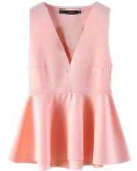 Choies Pink Low Cut Peplum Blouse