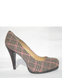 Pixie girl pink brown multi tweed plaid pump nib fun medium 321936