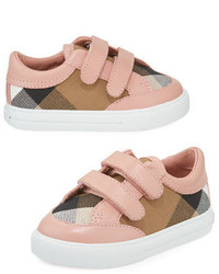 Burberry Heacham Check Canvas Sneaker Peony Rosetan Infant
