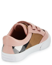 eb8112d9bf66 ... Burberry Heacham Check Canvas Sneaker Peony Rosetan Toddler Sizes 7 10  ...