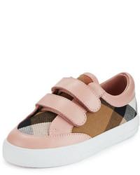 Burberry Heacham Check Canvas Sneaker Peony Rosetan Toddler Sizes 7 10