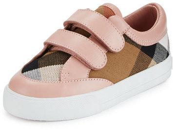 340a9ae0a4da6 ... Burberry Heacham Check Canvas Sneaker Peony Rosetan Toddler Sizes 7 10  ...