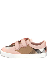 Burberry Heacham Check Canvas Sneaker Peony Rosetan Toddleryouth Sizes 12t 2y