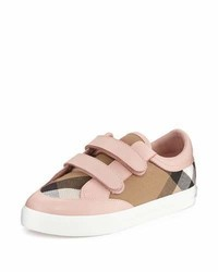 Burberry Heacham Check Canvas Sneaker Peony Rosetan Toddleryouth Sizes 12t 2y