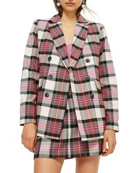 Topshop Tartan Double Breasted Jacket