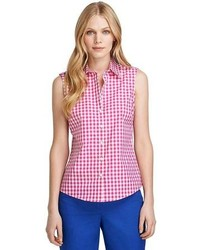 Brooks brothers petite fitted sleeveless gingham dress shirt medium 91792