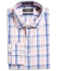 Shop smartcare trim fit plaid dress shirt medium 1150080