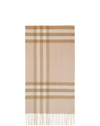 Burberry Pink And Beige Cashmere Classic Check Scarf