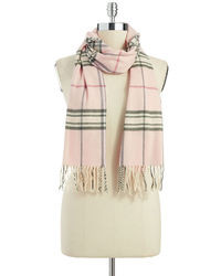 Lord & Taylor Plaid Fringe Scarf