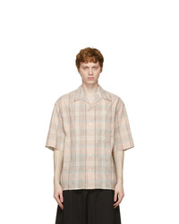 Lemaire Pink And Brown Check Short Sleeve Shirt