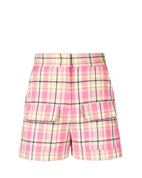 MSGM Plaid High Waisted Shorts