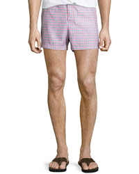 Original Penguin Plaid Short Swim Trunks Fusion Coral