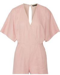 Marion wrap effect linen blend playsuit pastel pink medium 3742610