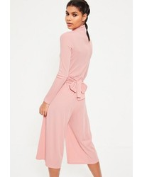 3b90a959c41 ... Missguided Pink High Neck Long Sleeve Belted Culotte Romper