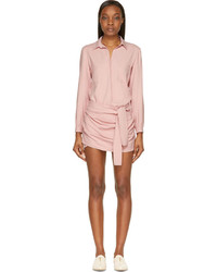 Jay Ahr Pink Draped Long Sleeve Romper