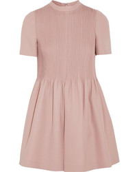 Valentino Pleated Wool And Silk Blend Playsuit Pink