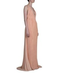 Haider Ackermann Pleated Deep V Neck Gown