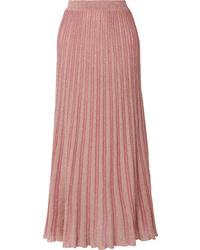 929b934aa Women's Beige Silk Button Down Blouse, Pink Maxi Skirt, Beige Chunky ...