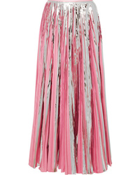 Marni Pleated Metallic  Crepe De Chine Midi Skirt