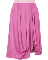 Chloé Asymmetric Satin Jersey Midi Skirt