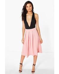 Boohoo Beau Scuba Box Pleat Midi Skirt