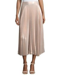 A.L.C. Bobby Metallic Pleated Midi Skirt Pink