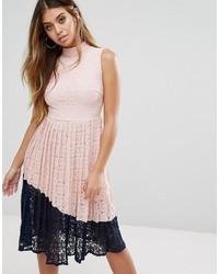 Boohoo Lace Midi Dress With Pleated Skirt
