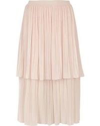 River Island Light Pink Layered Pleated Midi Skirt