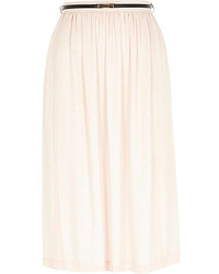 River Island Light Pink Soft Woven Belted Midi Skirt