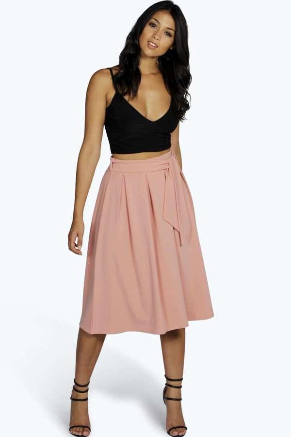 225a25c9c Boohoo Marley Tie Waist Box Pleat Midi Skirt, $28 | BooHoo ...