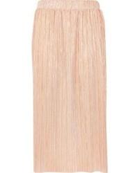 River Island Metallic Pink Pleated Midi Skirt