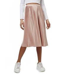 Topshop Pleat Jersey Midi Skirt