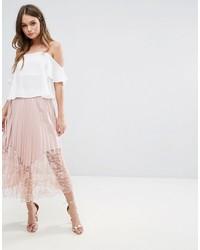 Boohoo Pleated Lace Trim Midi Skirt