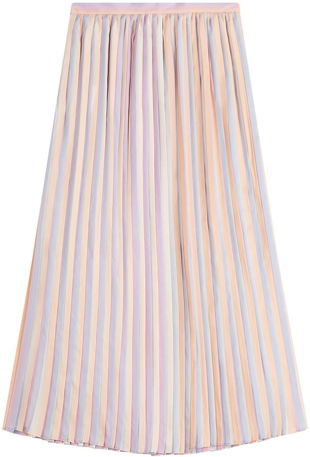 ee3e450774 ... Pink Pleated Midi Skirts Marco De Vincenzo Pleated Silk Skirt ...