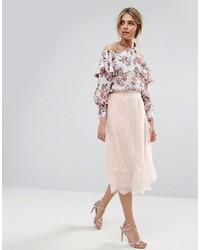 Boohoo Pleated Tulle And Lace Midi Skirt
