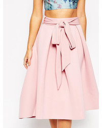 Red Tie Waist Flare Midi Skirt