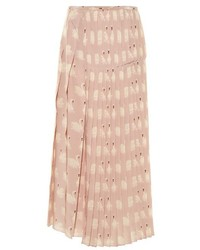 Swan print pleated silk midi skirt medium 846912