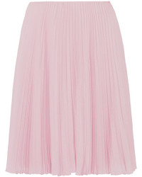 Prada Pleated Crepe De Chine Skirt Pastel Pink