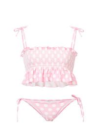 Lisa Marie Fernandez Polka Dot Smocked Bikini