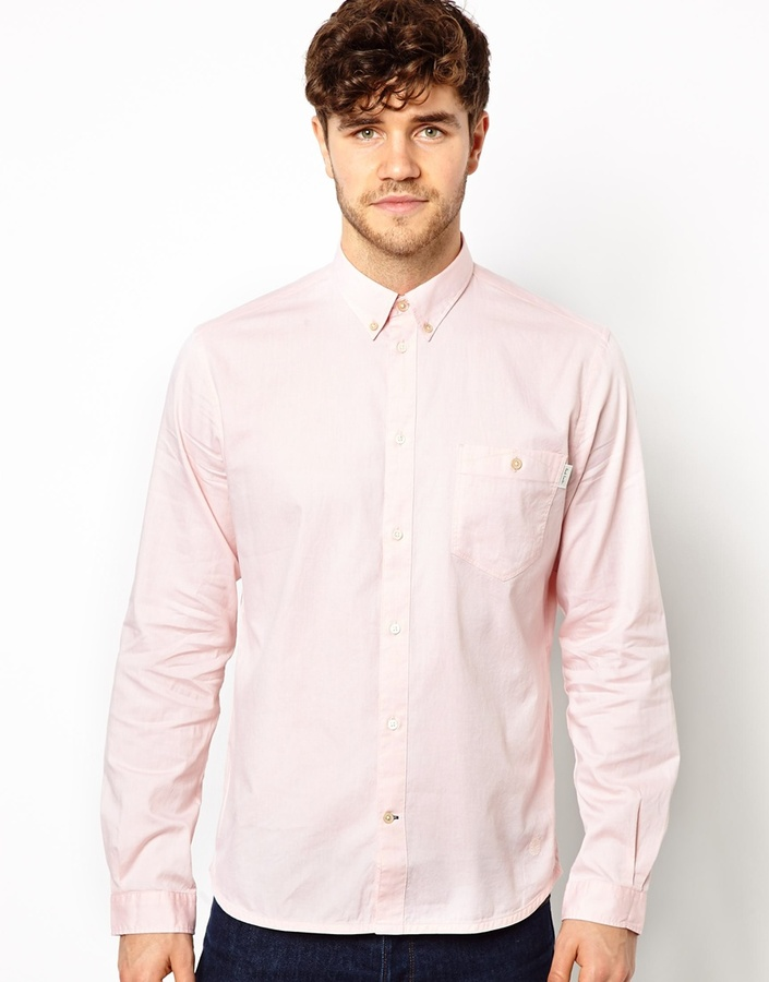 Paul Smith Jeans Oxford Shirt In Polka Dot Tailored Fit Pink ...