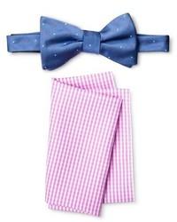 Merona Bow Tie And Pocket Square Set Bluepink